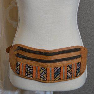 Vintage 2-Pocket Leather Textile Fanny Pack